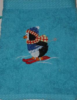 WASCHHANDSCHUH türkis mit Pinguin