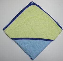 KAPUZENBADETUCH 80 X 80 CM blau mit Kapuze apfelgrün,  Motiv wählbar