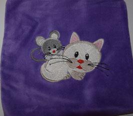 TRAUBENKERNKISSEN KLEIN  lila mit Maus und Katze