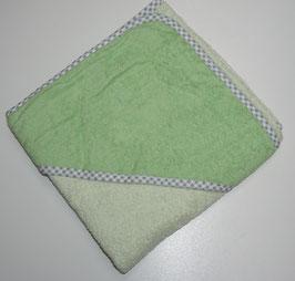 KAPUZENBADETUCH 80 X 80 CM pastellgrün mit Kapuze opalgrün