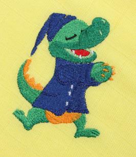 Nuschi zitronengelb mit Krokodil