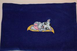 TRAUBENKERNKISSEN GROSS  blau mit Baby Nilpferd am Schlafen
