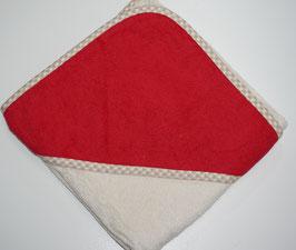 KAPUZENBADETUCH 80 X 80 CM beige mit Kapuze rot,  Motiv wählbar
