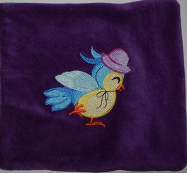 DINKELKISSEN KLEIN  violett mit Vögeli