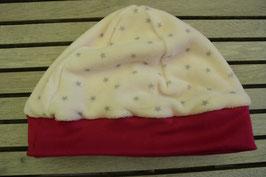 WENDE-BEANIE-Mütze rosa mit Stärnli  GRÖSSE ca. 68