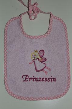 """Lätzli zum Binden rosa mit Prinzessin und Text """"Prinzessin"""""""