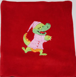 TRAUBENKERNKISSEN KLEIN rot mit Krokodil