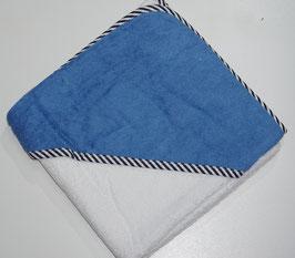 KAPUZENBADETUCH 80 X 80 CM weiss mit Kapuze blau,  Motiv wählbar