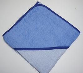 KAPUZENBADETUCH 100 cm x 100 cm  hellblau mit Kapuze blau,  Motiv wählbar
