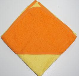 KAPUZENBADETUCH 80 X 80 CM gelb, mit oranger Kapuze Motiv wählbar