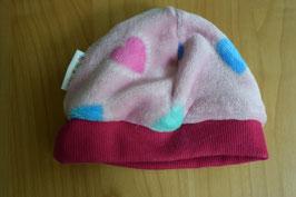 WENDE-BEANIE-Mütze rosa mit Herzchen GRÖSSE ca. 68