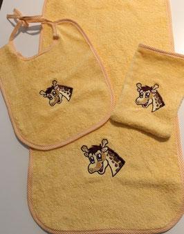 SET mit Schultertuch, Lätzli und Waschhandschuh gelb Giräffli
