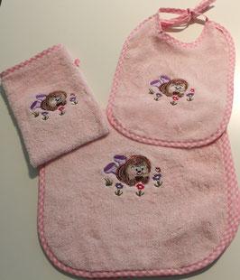 SET mit Schultertuch, Lätzli und Waschhandschuh rosa mit Igeli