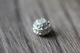 Kreisperle //Silberperle für Leder rund dick & Perlenstränge & Seide