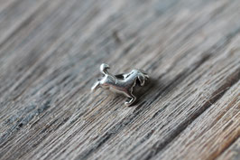 Pferd //Silberschieber für Leder flach schmal & Stoffbänder
