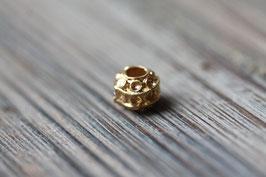 Kreisperle //Goldperle für Leder rund dick & Perlenstränge & Seide