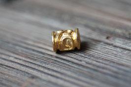 Schnörkelperle //Goldperle für Leder rund dick & Perlenstränge & Seide