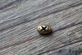 X-Perle //Bronzeperle für Leder rund dünn und Perlenstränge
