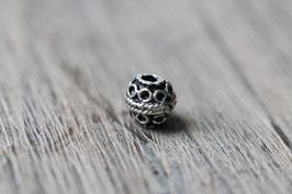 Kringelperle //Silberperle für Leder rund dünn & Perlenstränge