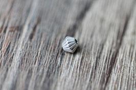 Geriffelt //Silberperle für Wachskordel