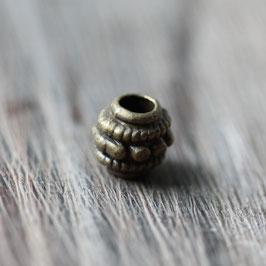 Punktperle //Bronzeperlen für Leder rund dick & Perlenstränge & Seide