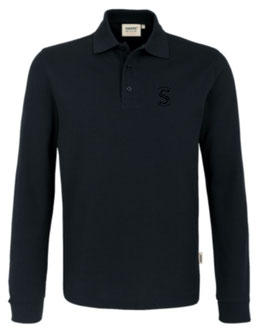 HAKRO 815 Polo-Shirt lang 005 schwarz (schwarzes Logo)