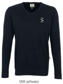 HAKRO 143 V-Pullover Premium Cotton 005 schwarz (weisses Logo)
