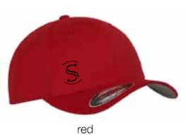 FLEXIT 6277 Fitted Baseball Cap red (schwarzes Logo)