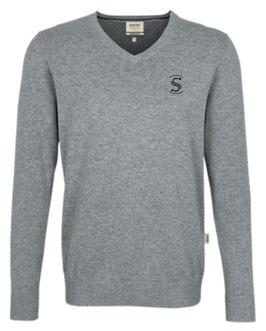 HAKRO 143 V-Pullover Premium Cotton 015 grau meliert (schwarzes Logo)