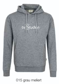 HAKRO 601 Kapuzen Sweatshirt 015 grau meliert (weisses Logo)