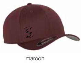 FLEXIT 6277 Fitted Baseball Cap maroon (schwarzes Logo)