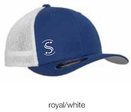 FLEXIT 6511T Mesh Trucker Cap royal/white (weisses Logo)
