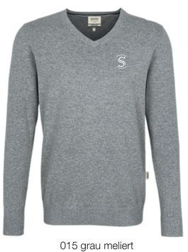 HAKRO 143 V-Pullover Premium Cotton 015 grau meliert (weisses Logo)