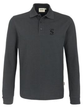 HAKRO 815 Polo-Shirt lang 028 anthrazit (schwarzes Logo)
