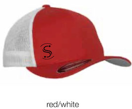 FLEXIT 6511T Mesh Trucker Cap red/white (schwarzes Logo)