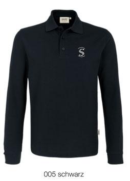 HAKRO 815 Polo-Shirt lang 005 schwarz (weisses Logo)