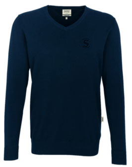 HAKRO 143 V-Pullover Premium Cotton 034 tinte (schwarzes Logo)