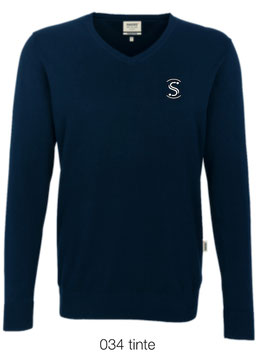 HAKRO 143 V-Pullover Premium Cotton 034 tinte (weisses Logo)