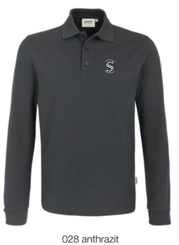 HAKRO 815 Polo-Shirt lang 028 anthrazit (weisses Logo)