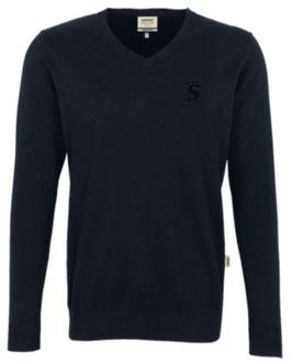 HAKRO 143 V-Pullover Premium Cotton 005 schwarz (schwarzes Logo)