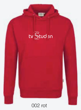 HAKRO 601 Kapuzen Sweatshirt 002 rot (weisses Logo)