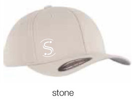 FLEXIT 6277 Fitted Baseball Cap stone (weisses Logo)