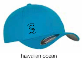 FLEXIT 6277 Fitted Baseball Cap hawaiian ocean (schwarzes Logo)