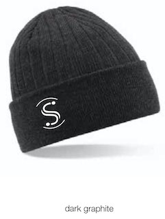 Beechfield B447 Thinsulate Beanie dark graphite (weisses Logo)