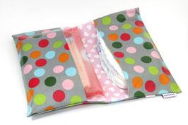 Windeltasche grau farbig gepunktet/rosa