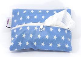 Feuchttücherhülle hellblau mit Sternen