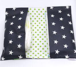 Windeltasche dunkelblaue Sterne mit Grün
