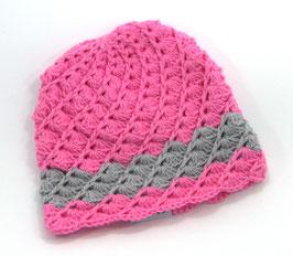 Häkelkäppchen pink/grau