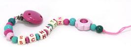 Nuggikette Schatz rosa/pink/türkis