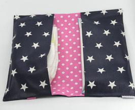 Windeltasche dunkelblaue Sterne mit Pink